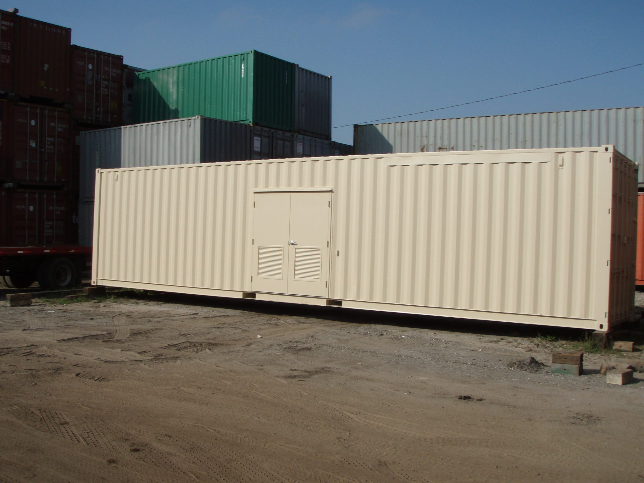 A American Container's double steel man door with lateral vent on side