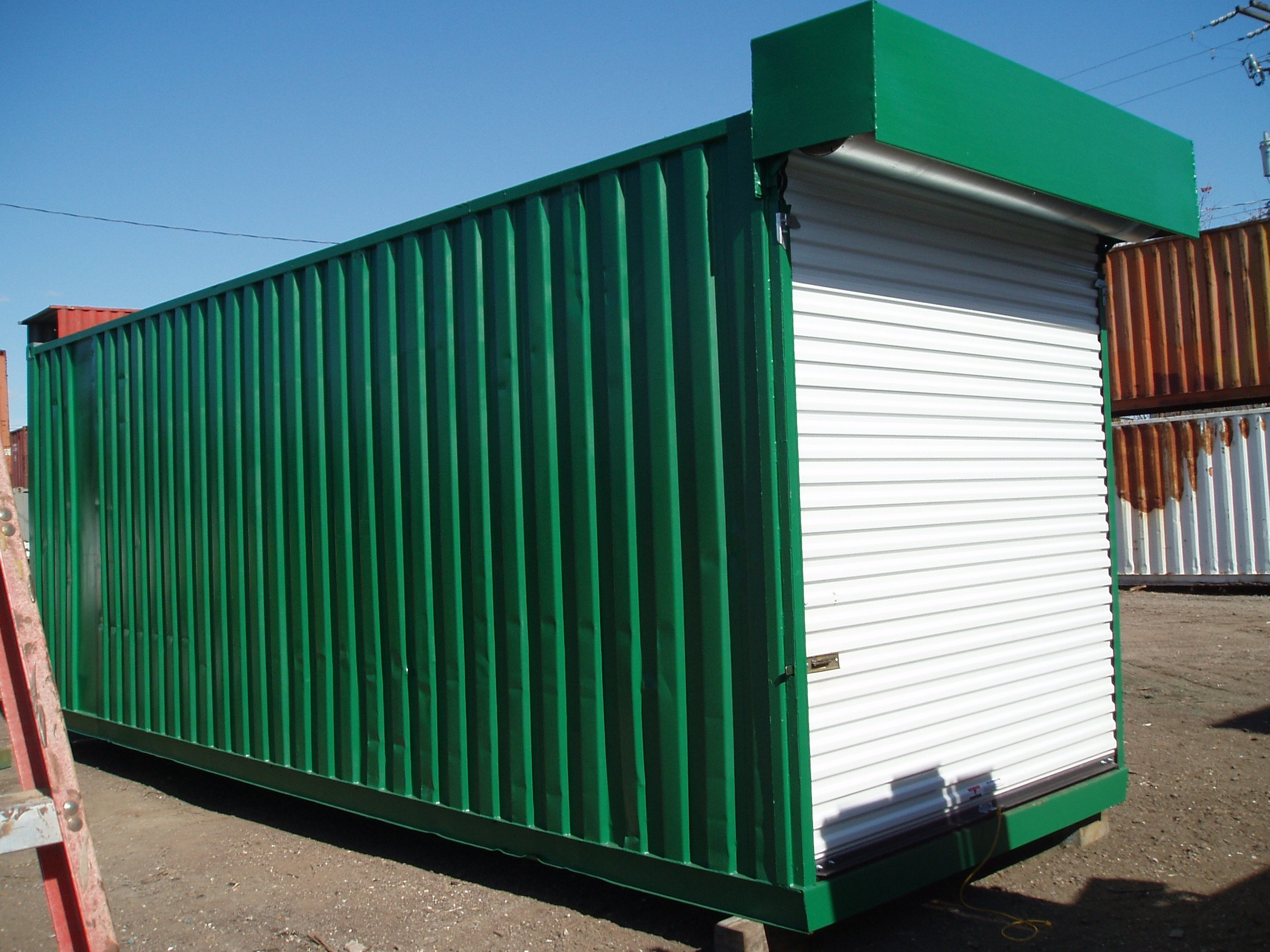 A American Container's roll up door on end of container
